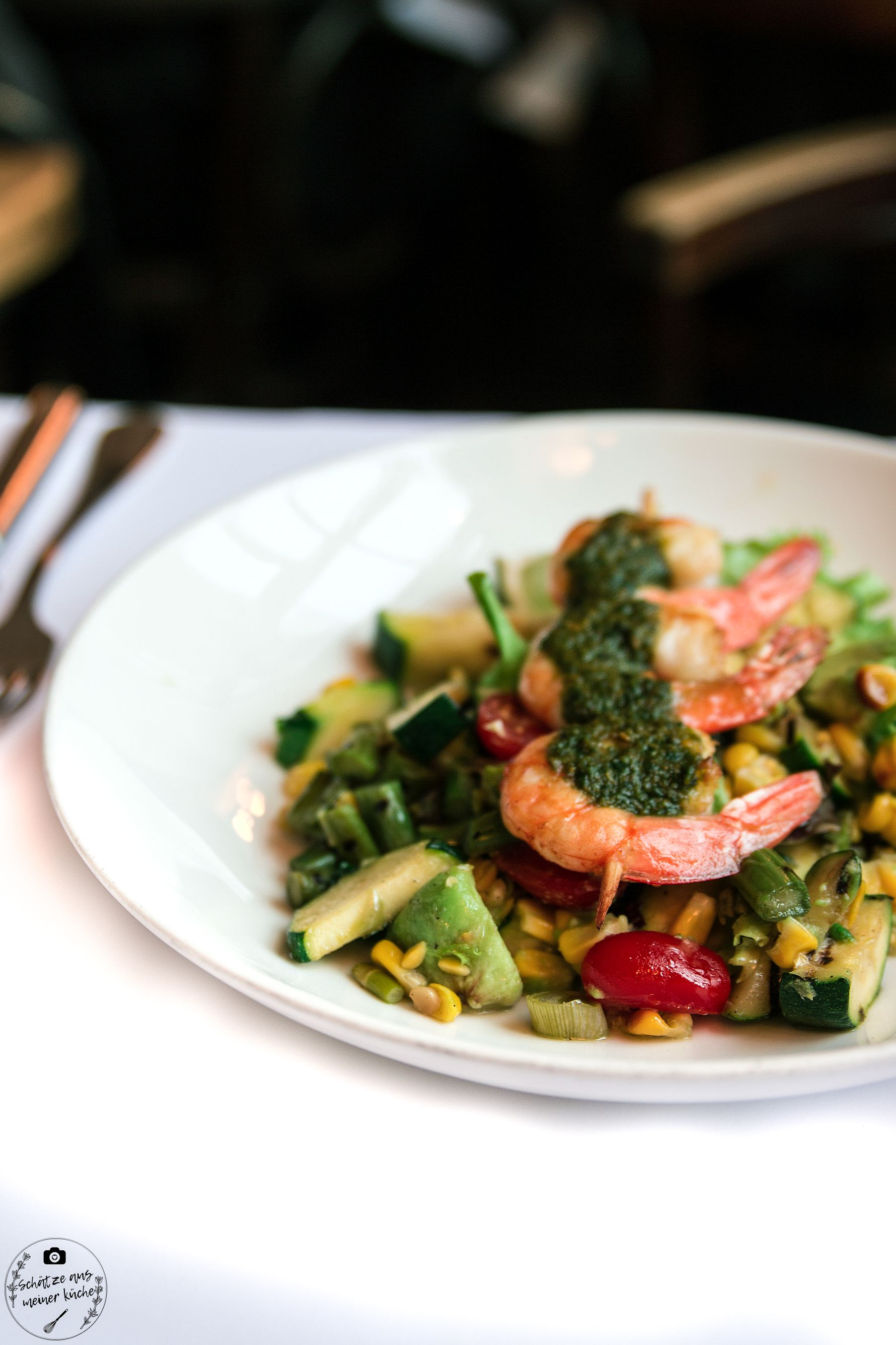 Gemüsesalat Lauwarm Pesto-Scampi Brenner Restaurant Grill