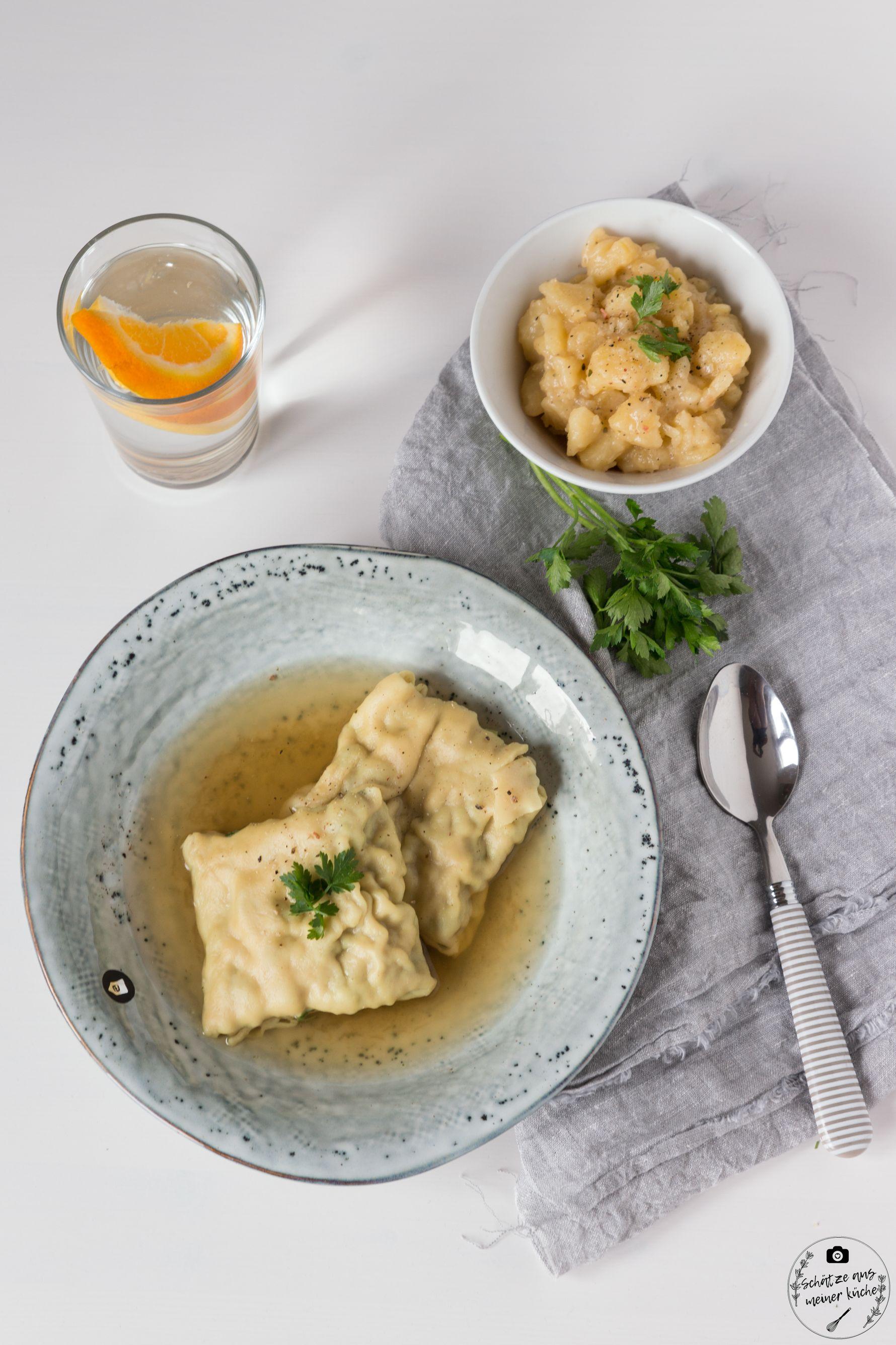 Hausgemachte schwäbische Maultaschen mit köstlichem Kartoffelsalat