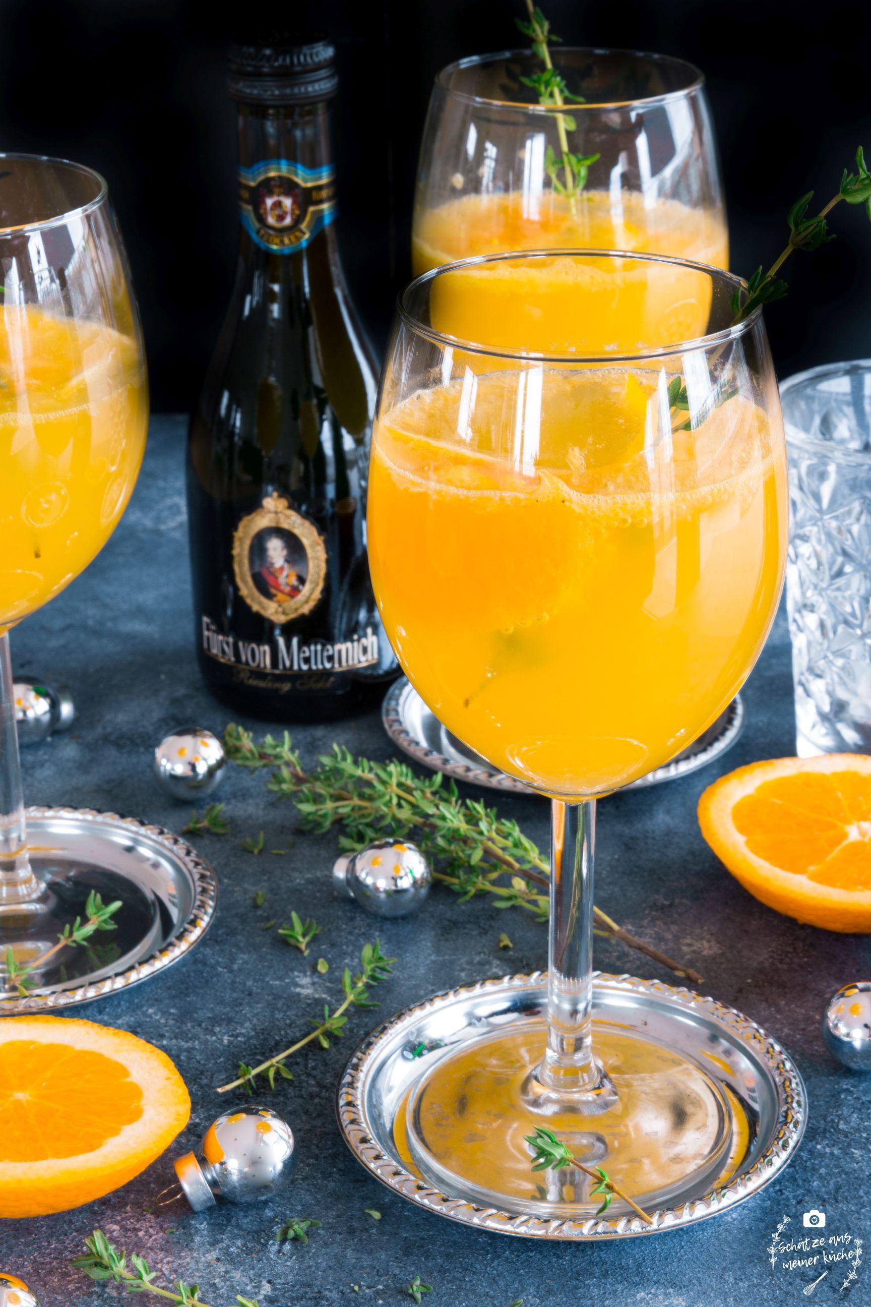 Orangen-Thymian-Spritz mit Riesling-Sekt Fürst von Metternich