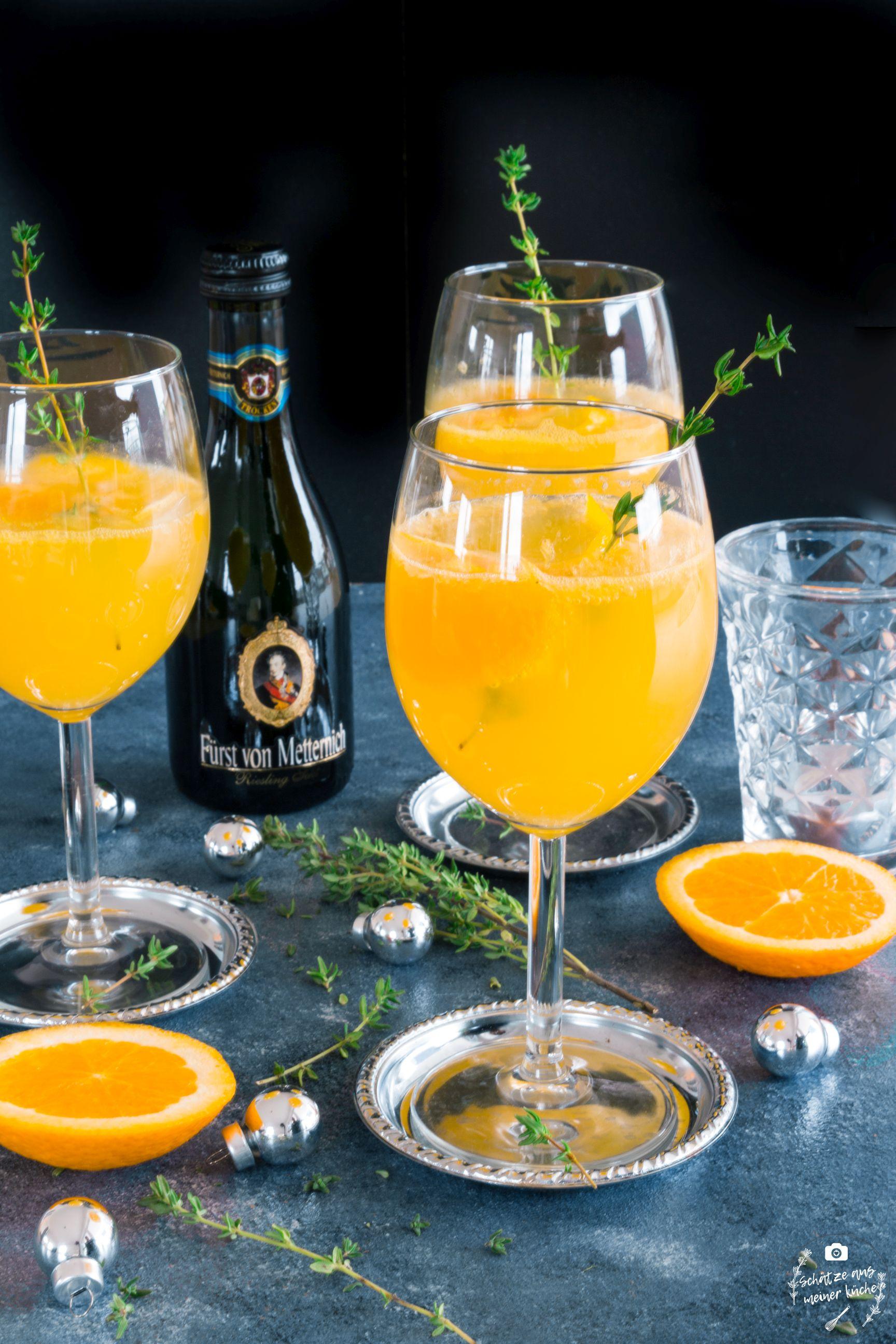 Orangen-Thyian-Spritz mit Riesling-Sekt Fürst von Metternich