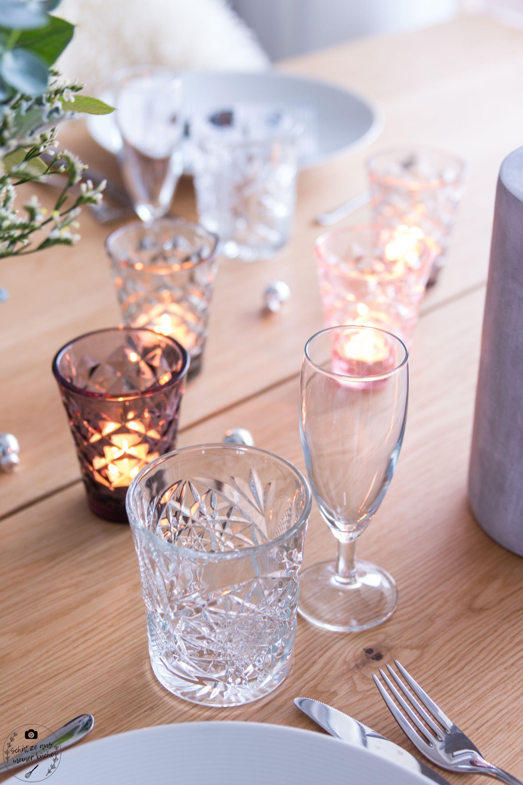 ediths Teelichtgläser tinekhome gedeckter Weihnachts Tisch