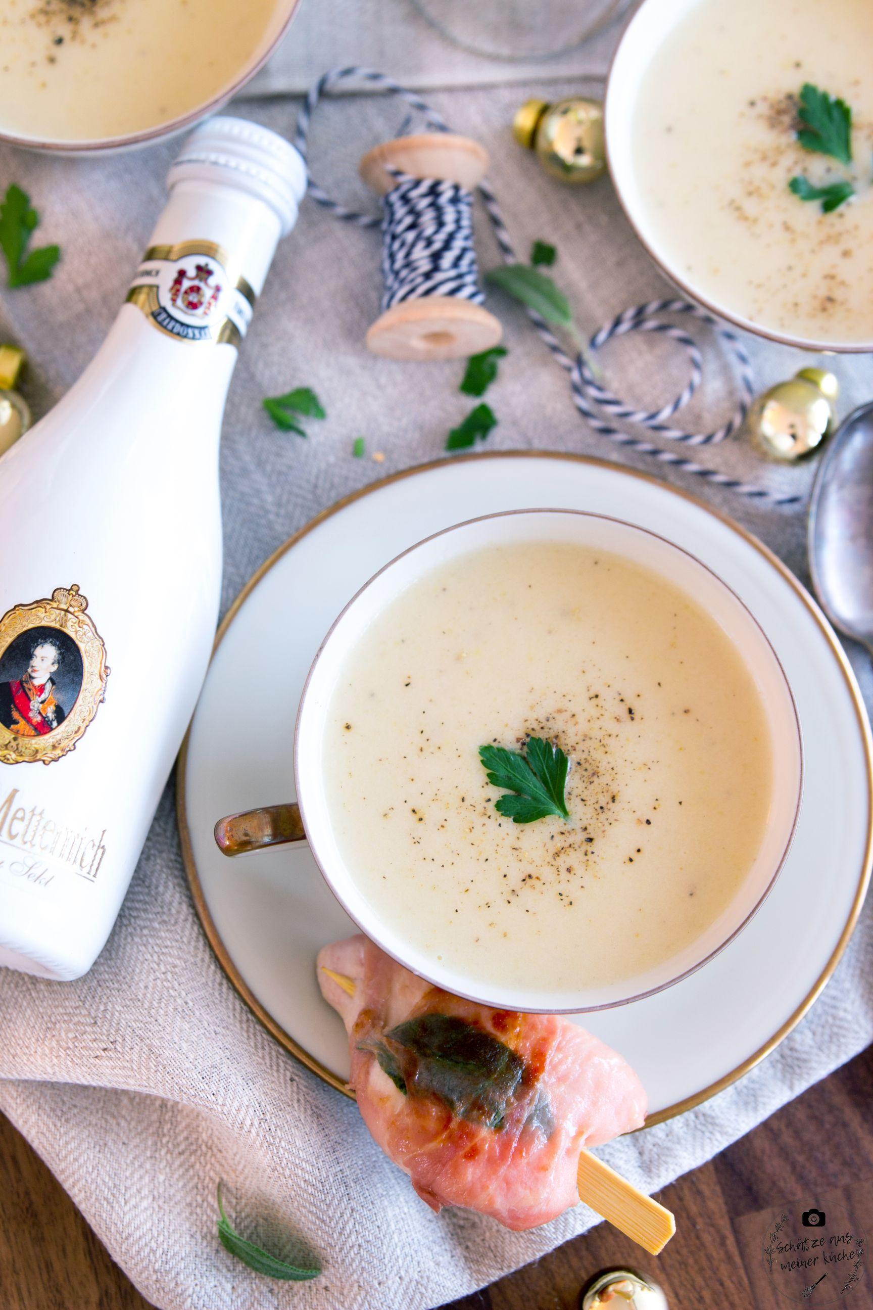 Cremige Petersilienwurzelsuppe mit Chardonnay Sekt und Hähnchen-Saltimbocca-Spieß