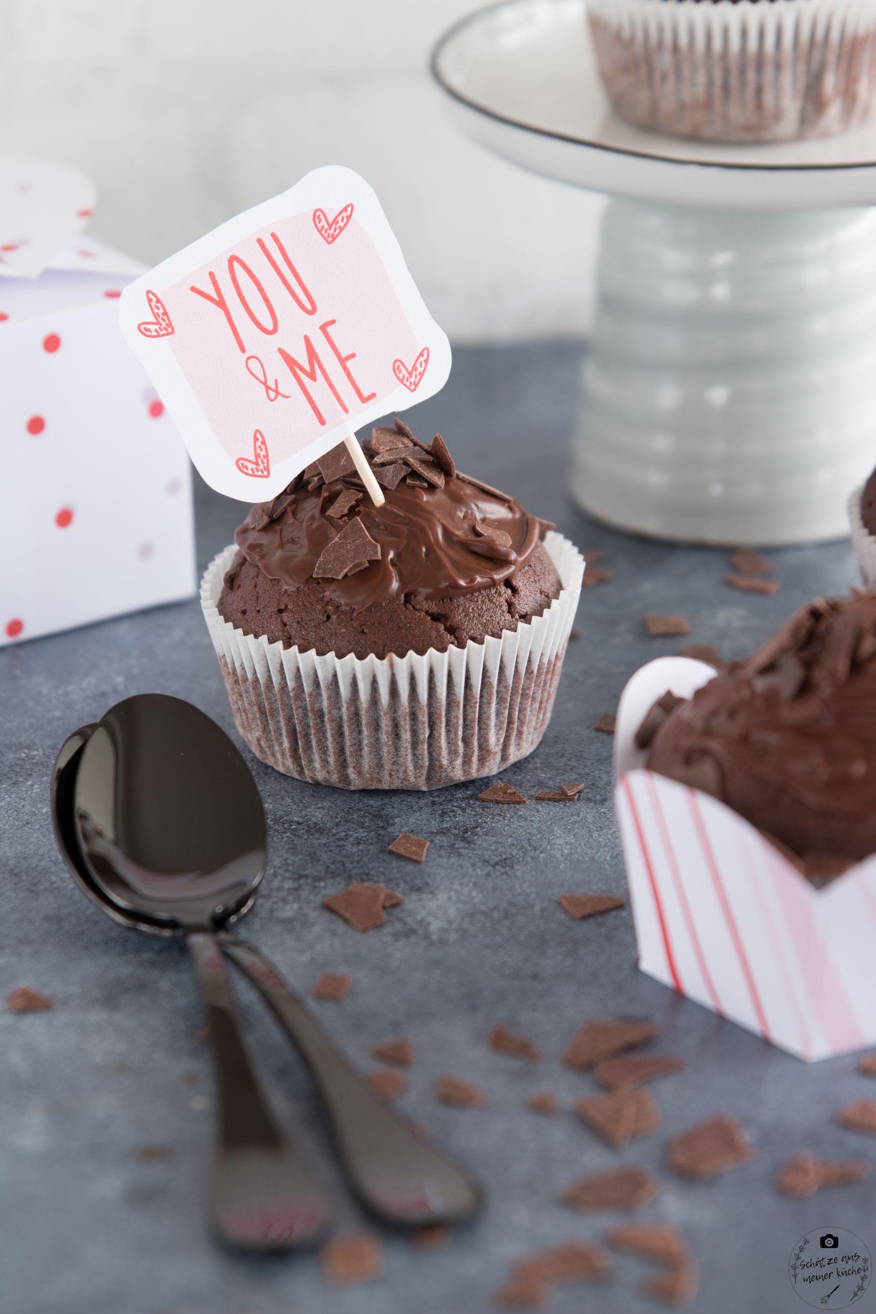 köstliche Rotwein-Schokoladen-Muffins Valentinstag