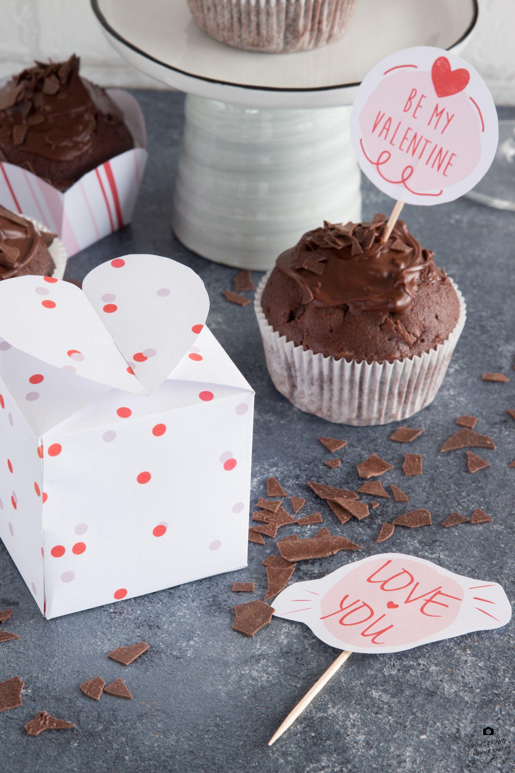 Herzbox Printable köstliche Rotwein-Schokoladen-Muffins Valentinstag