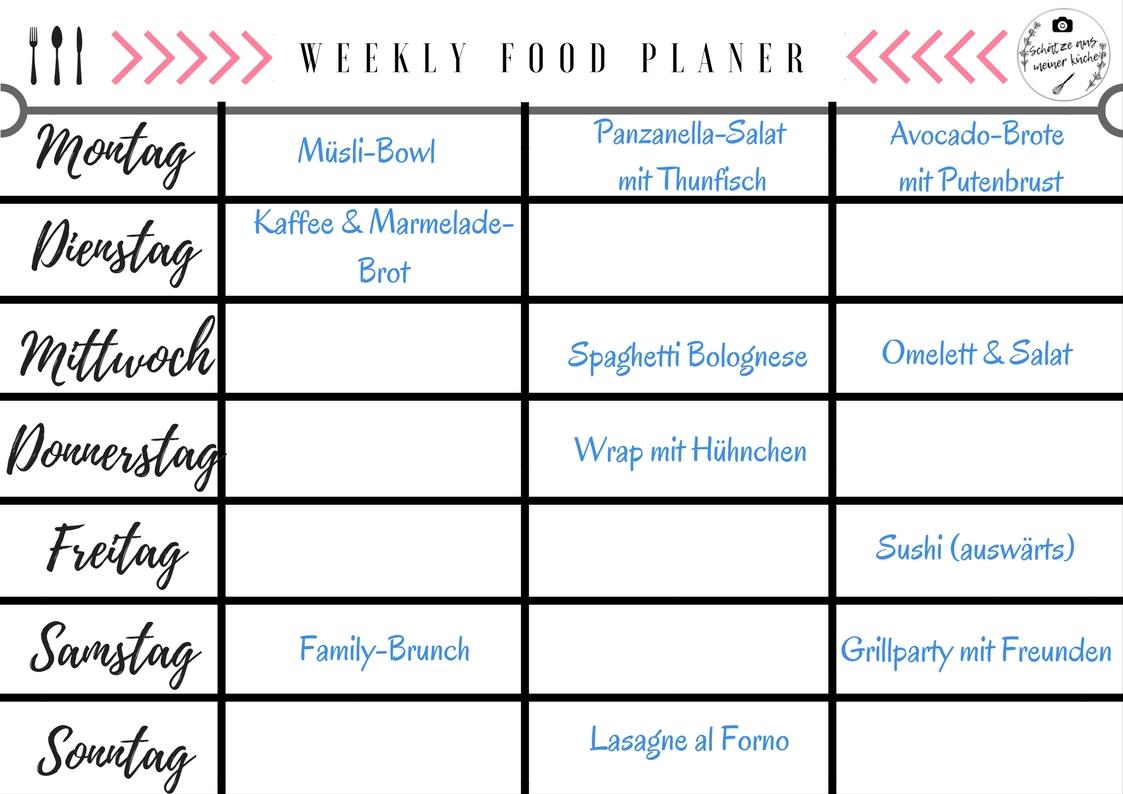Weekly Food Planer Schätze aus meiner Küche Beispiel
