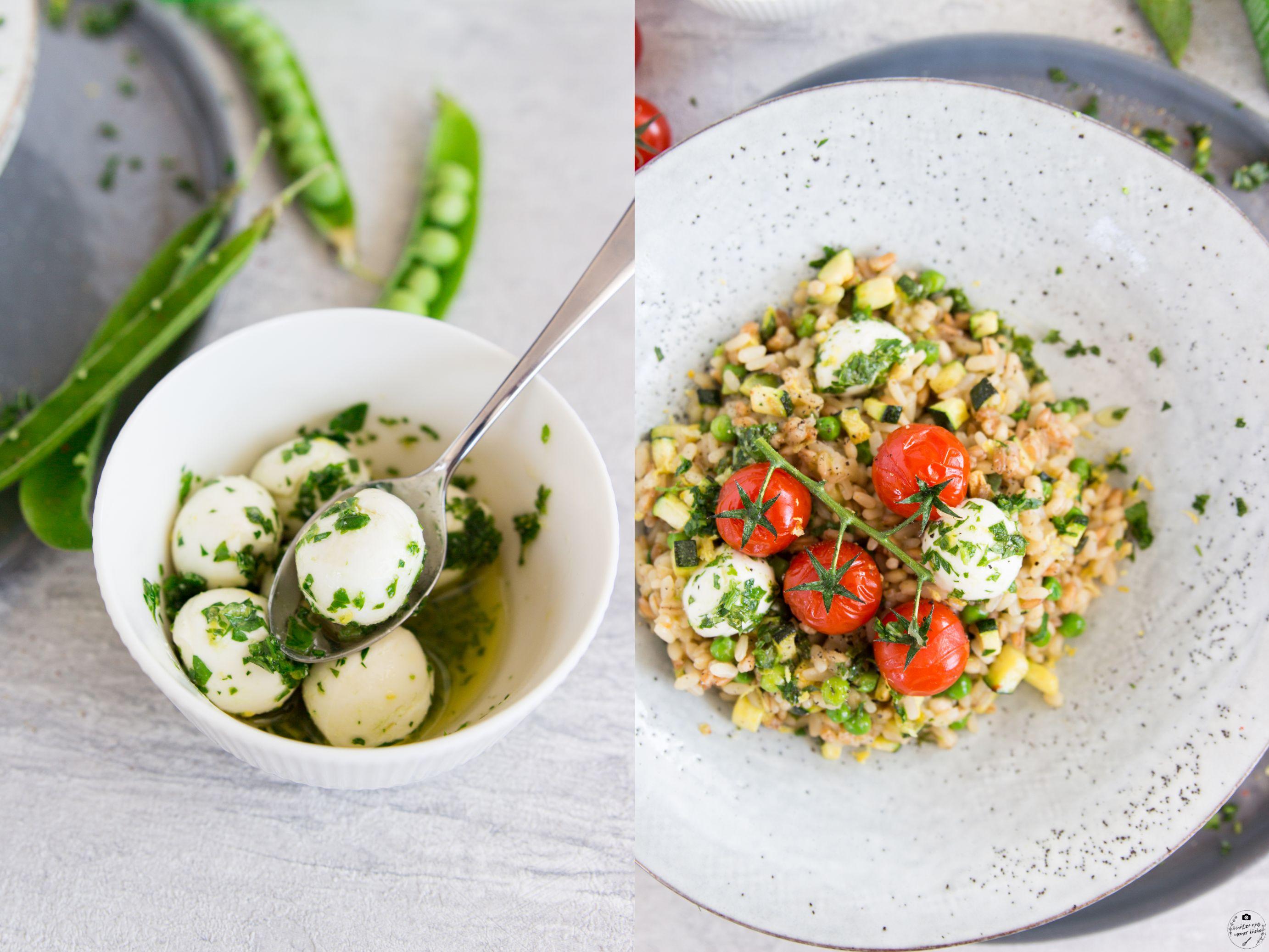 Mediterranes Gemüserisotto mit Frühlingskräuter-Mozzarellabällchen